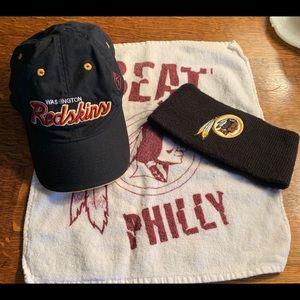 Washington Redskin Hat, Headband and hand towel